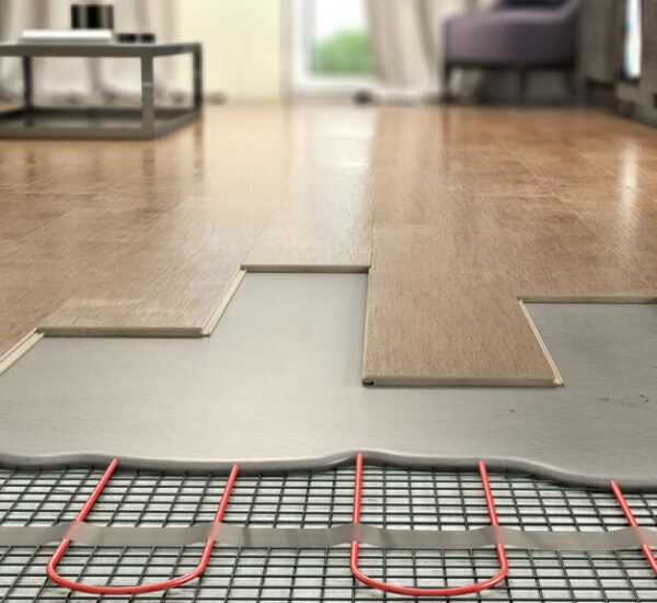 Process of laying parquet boards on floor with underfloor heating, 3d illustration